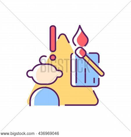 Child And Matches And Candles Rgb Color Icon. Kid Playing With Matches. Do Not Let Children Play Wit