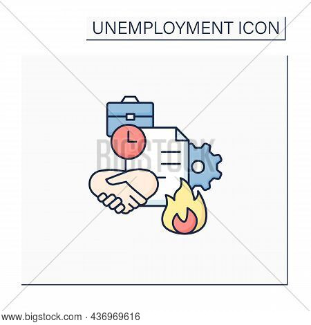 Fixed-term Contract Color Icon. Employment Contract Expiration. Agreement Between Employer And Emplo