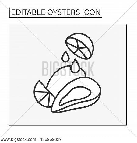 Delicacy Line Icon.taste Compatibility. Combine Lemon Juice And Fresh Oysters. Special Tasting.seafo