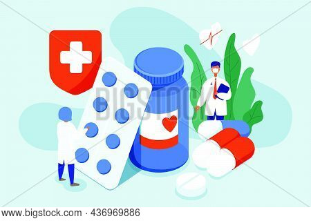 Doctor In A Mask Standing In The Drugstore With Medicine Bottle And Pills. Pharmacist Choosing Medic