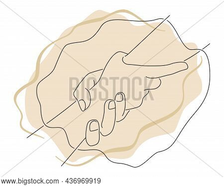 Help And Hope Concept, Drawn In Thin Single Line. Benevolence Charity Illustration With Helping Hand
