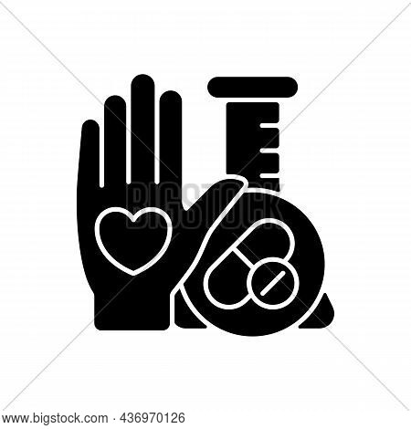 Human Volunteer Research Black Glyph Icon. Contribute To Medical Advances. Volunteering For Clinical