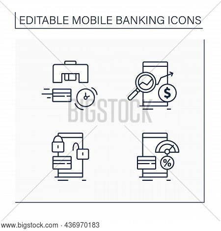 Mobile Banking Service Line Icons Set. Instant Card Issuance, Check Money Balances, Lock And Unlock