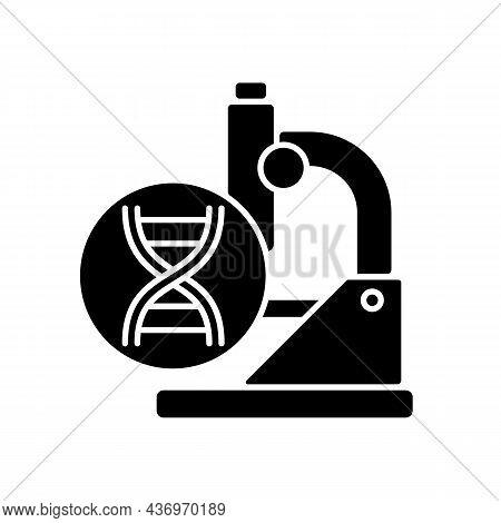 Genetic Trials Black Glyph Icon. Genetic Conditions Treatment. Revealing Mutations In Genes. Disease