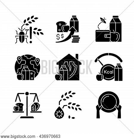 Hunger Reasons Black Glyph Icons Set On White Space. Pests And Harvest Loss Danger. Poverty And Star