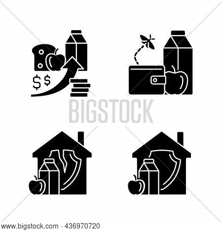 Poverty And Hunger Black Glyph Icons Set On White Space. No Money For Products. Increased Prices. Fo