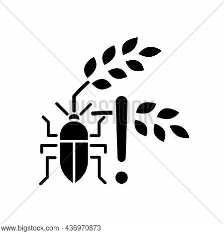 Pests Danger Black Glyph Icon. Insects And Diseases Damage Harvest. Hunger And Starvation Reason. Fa