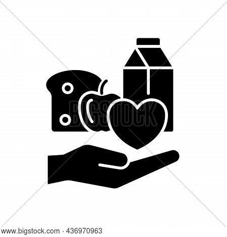Food Donation Black Glyph Icon. Charity Organizations. Lack Of Products Consumption. Volunteering An