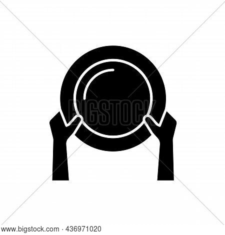 Asking For Food Black Glyph Icon. Poverty And Starvation. Lack Of Nutrition. Poor Population That Su