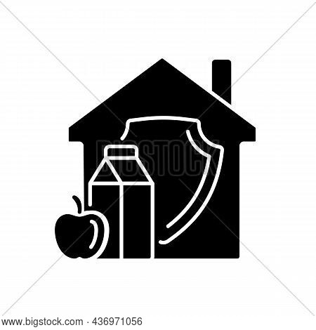Household Food Security Black Glyph Icon. Family Food Consumption. Home Products Supply And Storage.
