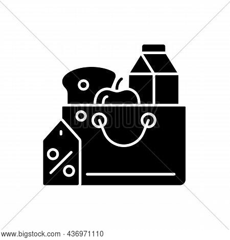 Reduced Food Prices Black Glyph Icon. Grocery Discounts. Buying Products At Low Price. Food Security