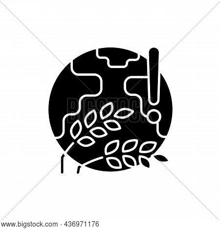 World Harvest Wilt Black Glyph Icon. International Starvation Problem. Humanity Disaster. Crop Loss