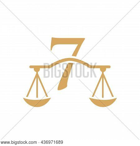 Law Firm Logo Design On Letter 7. Lawyer And Justice, Law Attorney, Legal, Lawyer Service, Law Offic