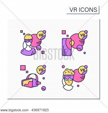 Virtual Reality Color Icons Set. Vr Player, Augmented Reality, Headset. Modern Technology Concept. I