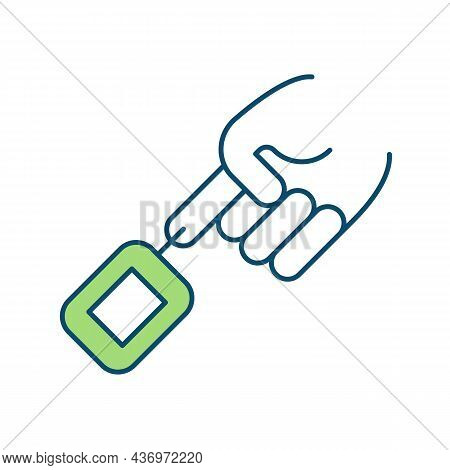Blood Sugar Testing Rgb Color Icon. Glucose Monitor. Pricking Finger With Small Needle. Diabetes Man