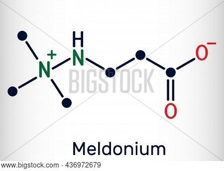 Meldonium Molecule. Cardioprotective Drug Used For Treatment Of Heart Failure, Myocardial Infarction