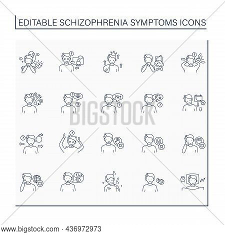 Schizophrenia Symptoms Line Icons Set. Brain Disorder. General Apathy. Unable To Recognize Reality.h