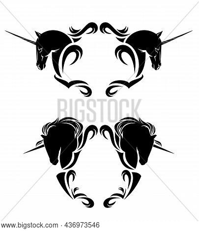 Two Magic Unicorn Horses And Heraldic Style Copy Space Blank Frame - Fairy Tale Animal Black And Whi