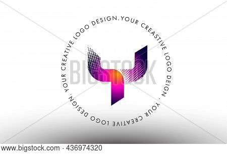 Y Dots Letter Logo. Creative Letter Design Vector Icon Illustration With Dots.