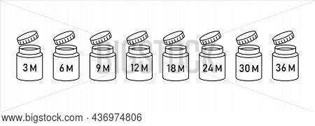 Pao Icons Cosmetic , Open Shelf Life Month, Expiration Date Months Pao. Vector Illustration, Symbols