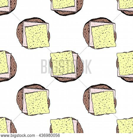 A Sandwich Pattern. Seamless Pattern Of Bread With Ham And Cheese In Color. A Sandwich With Breakfas
