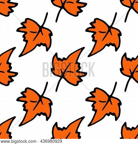 Pattern Of Maple Leaves. Seamless Pattern Of Maple Leaf In Orange Colors, With A Black Outline Rando
