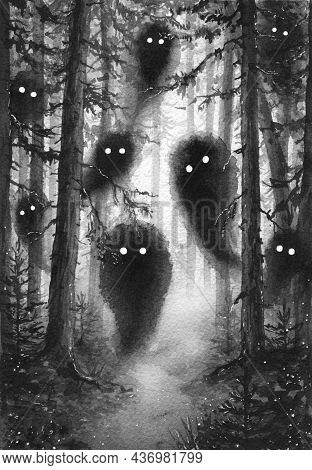 Hand Drawn Foggy Forest With Spirits Among Fir-trees Trunks. Watercolor Painting Monochrome Illustra