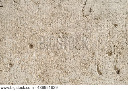 The Texture Of An Old Concrete Slab. Close-up Of The Concrete Wall. Outer Concrete Surface.