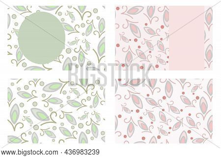 Business Cards Ethnic Design Vector Templates Set. Colourful Seamless Motifs In Pale Green And Orang