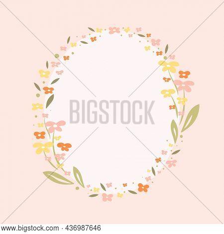 Flower wreath, pastel floral frame, cute spring illustration