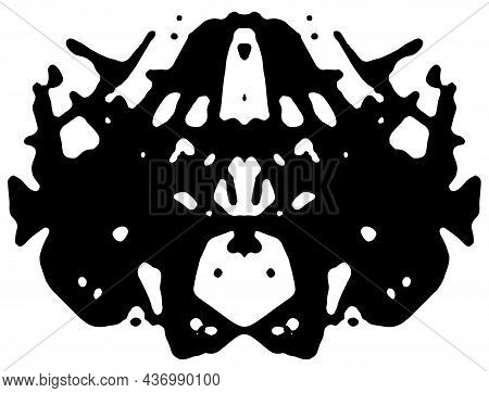 Rorschach Inkblot Test. Symmetrical Abstract Ink Stains.  Psycho Diagnostic For Silhouette Spot. Vec