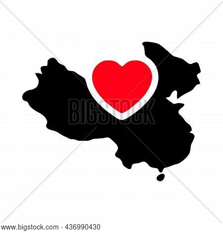 I Love China, China Map And Heart Symbol Glyph Icon