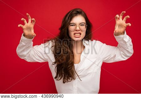 Photo Of Young Emotional Attractive Brunet Lady With Sincere Emotions Wearing Casual White Shirt And