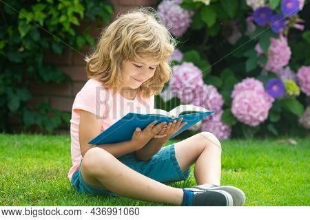 Kid Read Book. Child School And Outdoor Education. Nature And Park. Early Learning. Summer Outdoor.