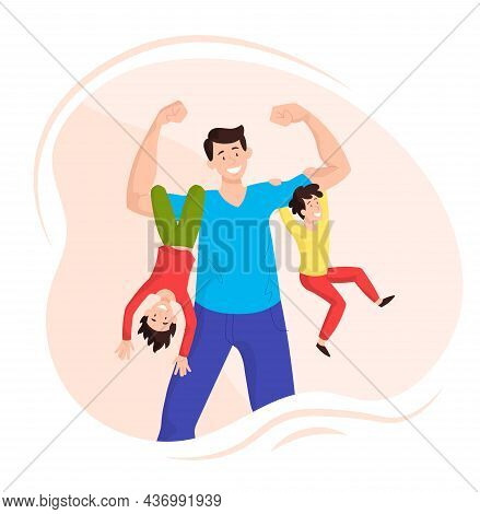 Happy Father With Children. Man Holds His Daughter And Son In His Arms. Strong Human Concept. Dad Sh
