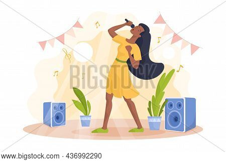 Woman Singing In Karaoke. Aspiring Singer, Evening Entertainment, Rest After Work, Creativity. Enter