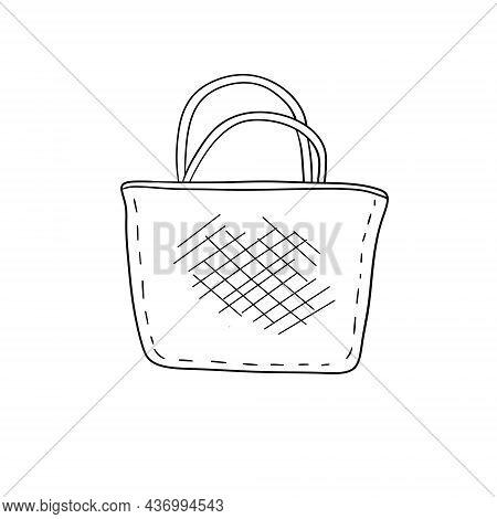 Fabric Bag. Cloth Eco Shopper. Outline Cartoon Sketch Doodle Illustration