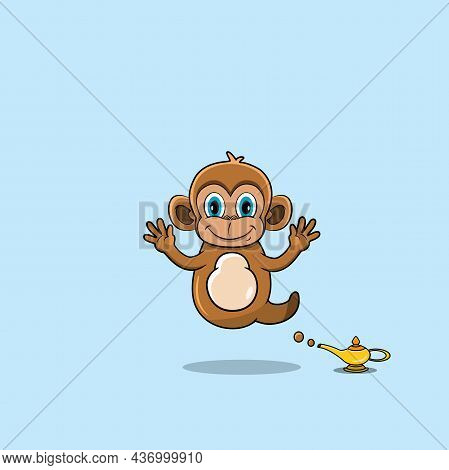 Cute And Funny Animals With Monkey. Genie Character. Perfect For Mascot, Logo, Icon, And Character D