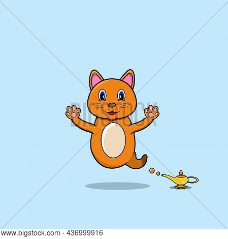 Cute And Funny Animals With Cat. Genie Character. Perfect For Mascot, Logo, Icon, And Character Desi