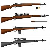 Layered vector illustration of different isolated Rifle. poster