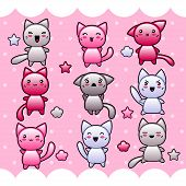 Card with cute kawaii doodle cats. This is file of EPS8 format. poster