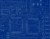 Detailed Circuit Board on a Blueprint Background poster