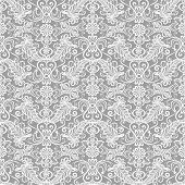 Seamless white lace floral pattern on gray background poster