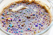 Hot cooking coffe with colorful bubbles, morning poster