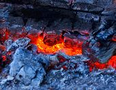 Closeup of very hot firewood transformed in embers.Can be used as background or wallpaper. poster