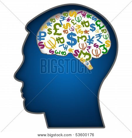 Human Face with Currency Symbols in Brain