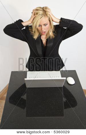 Beautiful Woman Having Computer Problems