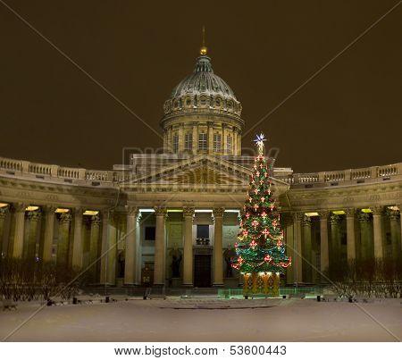 Christmas Tree And Kazanskiy Cathedral, St. Petersburg