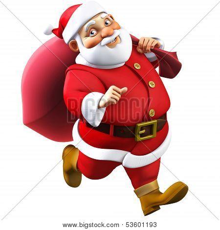 3D Cartoon Santa With A Bag