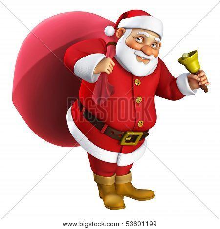 3D Cartoon Santa With A Bell